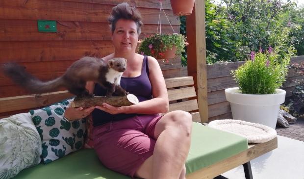 <p>Loes met een van de dieren die ze natuurgetrouw heeft opgezet: een steenmarter.</p>
