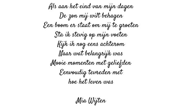 <p>Gedicht van Mia Wijten.</p>