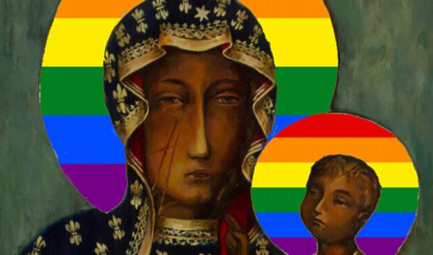 """<p pstyle=""""PLAT"""">Poster van Maria met een regenboog-aureool, waarvan verspreiding leidde tot vervolging in Polen.</p>"""
