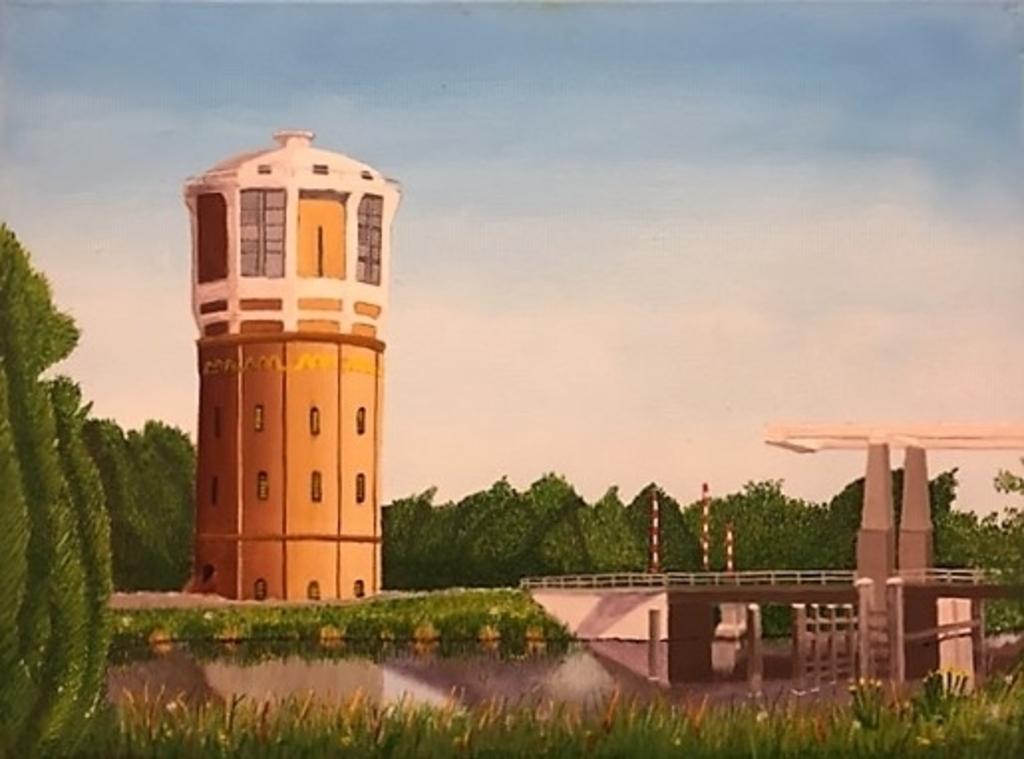 De watertoren in frisse kleuren. ((Schilderij: Henk Deyle)) © rodi