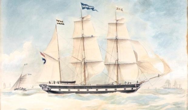 Een beeld van het schip 'Hliduina' (1859) van J.H. van Gent.