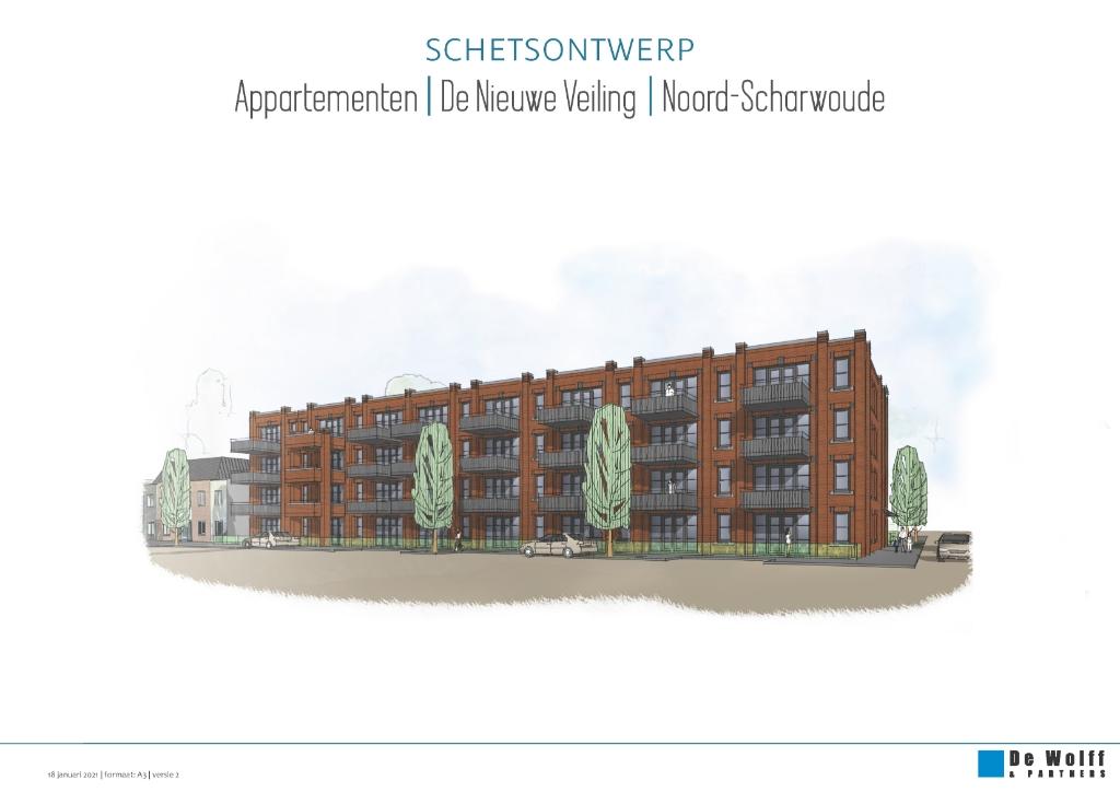 <em>Een schetsontwerp van het nieuwe appartementengebouw. Schetsontwerp: De Wolff & Partners.</em> (Foto: aangeleverd) © rodi