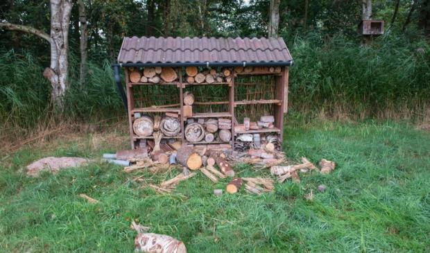 <p>De restanten van het insectenhotel.&nbsp;&nbsp;</p>