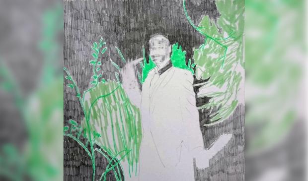 """<p pstyle=""""PLAT"""">Illustratie: tekening van een stroper uit de serie &ldquo;Human Bycatch&rdquo; 2021.</p>"""