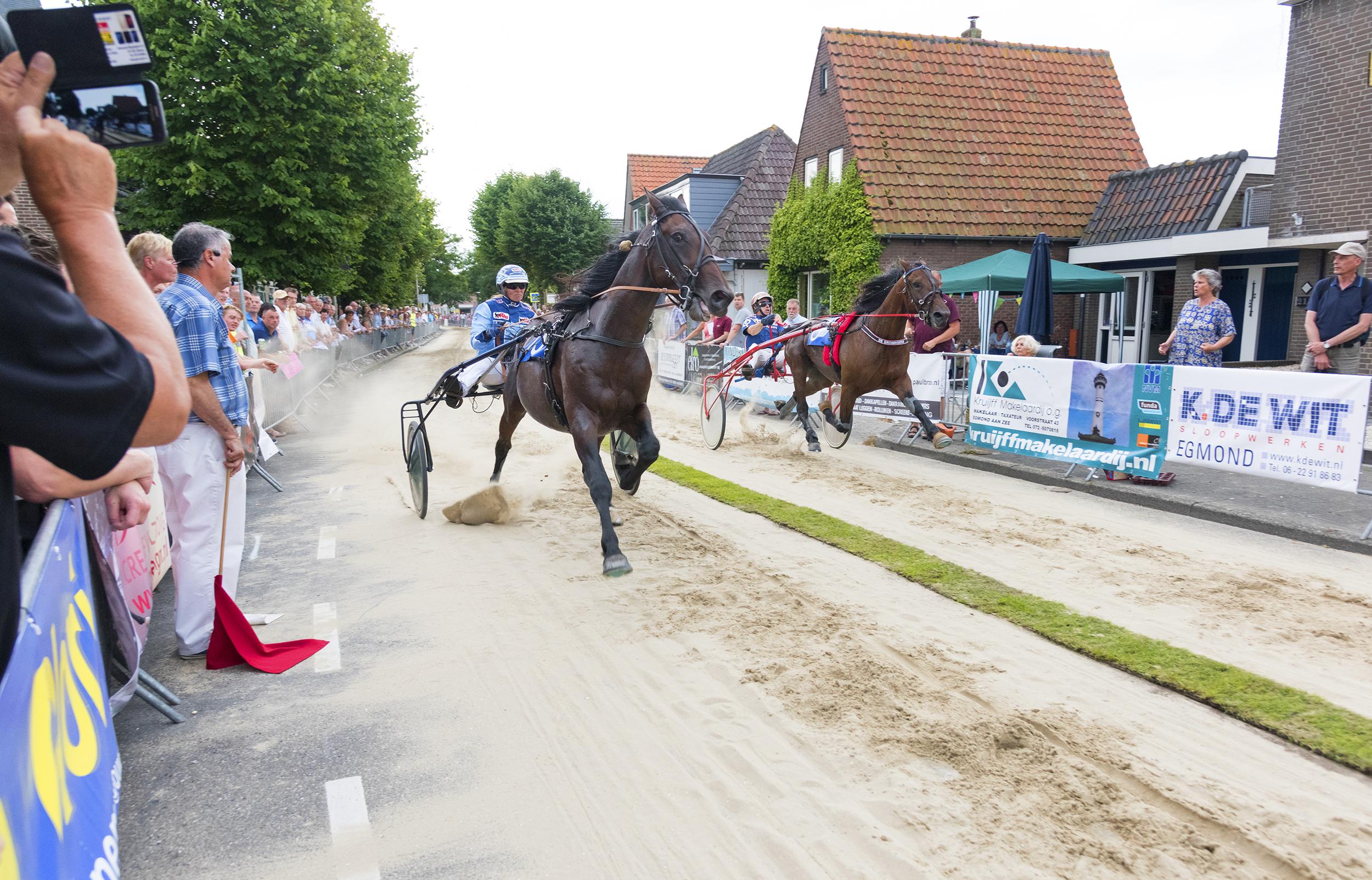 De beslissende omloop van vorig jaar tussen Caroline Aalbers met Lordspirit (linkerbaan) en de uiteindelijke winnaar John de Leeuw (rechterbaan) met Diesel Scott (rechts).  Fotografie: dredesign.nl©2017).