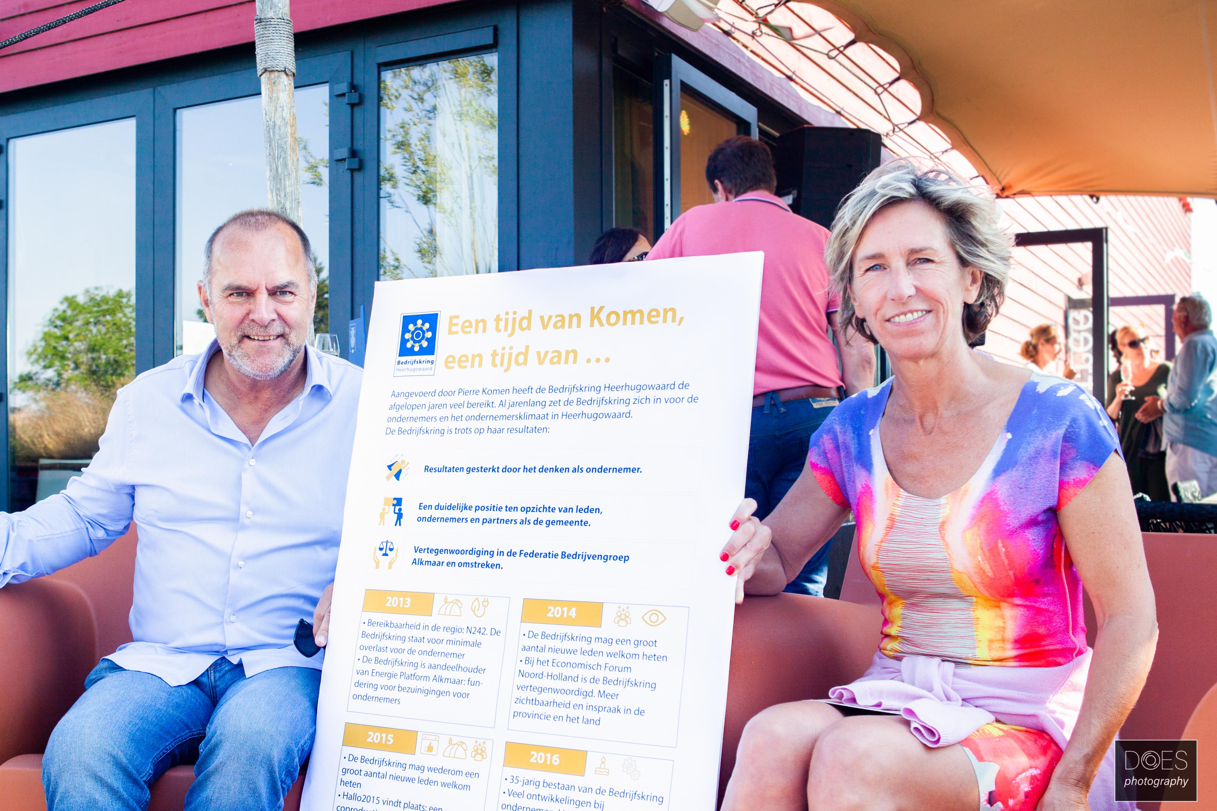 Onder zomerse omstandigheden droeg Pierre Komen het voorzitterschap van Bedrijfskring Heerhugowaard over aan Patricia Surendonk. (aangeleverde foto)