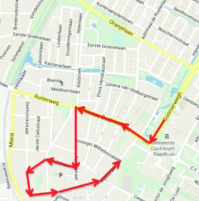 De route van de Sint in Castricum. (foto aangeleverd)
