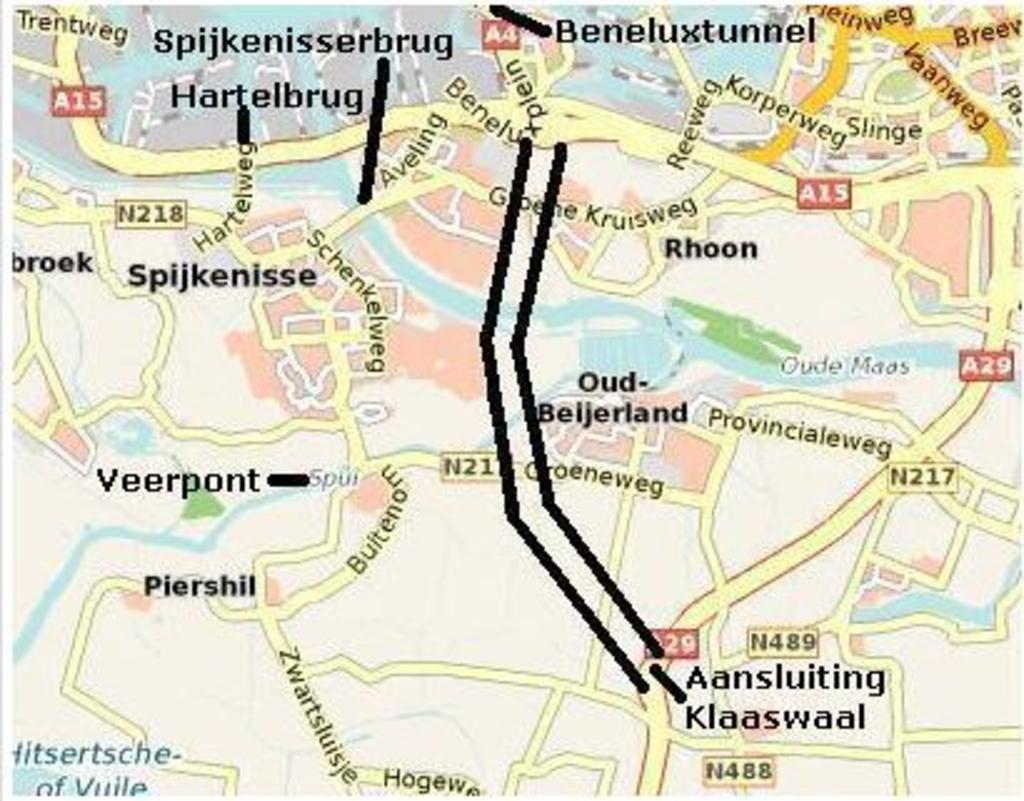 Het voorgestelde tracé van de A4-Zuid. a4zuid.nl © GrootNissewaard.nl