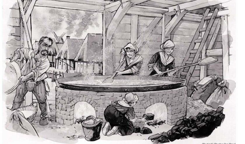 Geïdealiseerde afbeelding van een zoutziederij. Het werk was gevaarlijk: rook, stank en giftige dampen kwamen vrij. Afb.. Danker Jan Oreel