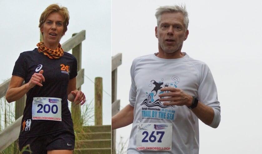 Rita Verhage (200) en Kees Slui (267) op de trappen van de Hobbeldebobbelloop Zoutelande 11km.