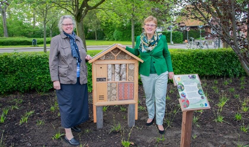 Wethouder Tea Both-Verhoeven mocht samen met dorpsraadvoorzitter Anne-Karin Guijt het eerste officiële bijenhotel openen in Nieuwe-Tonge.  Foto: Sam Fish