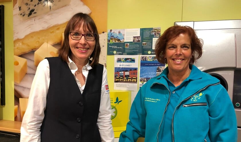 Ingrid bedrijfsleidster MCD en verpleegkundige Xandra hopen op heel veel bonnetjes en spontane schenkingen voor het goede doel