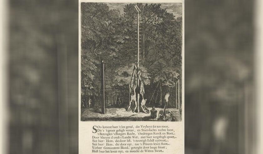 De verminkte lichamen van de gebroeders De Witt, hangend aan de wip. Roelant Roghman 1672.