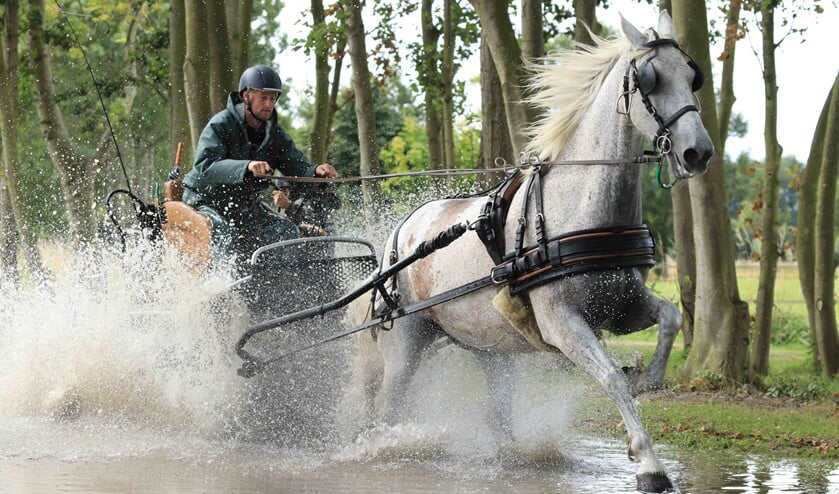 Bas Metske in actie met zijn paard Henri (Foto: PvE fotografie)
