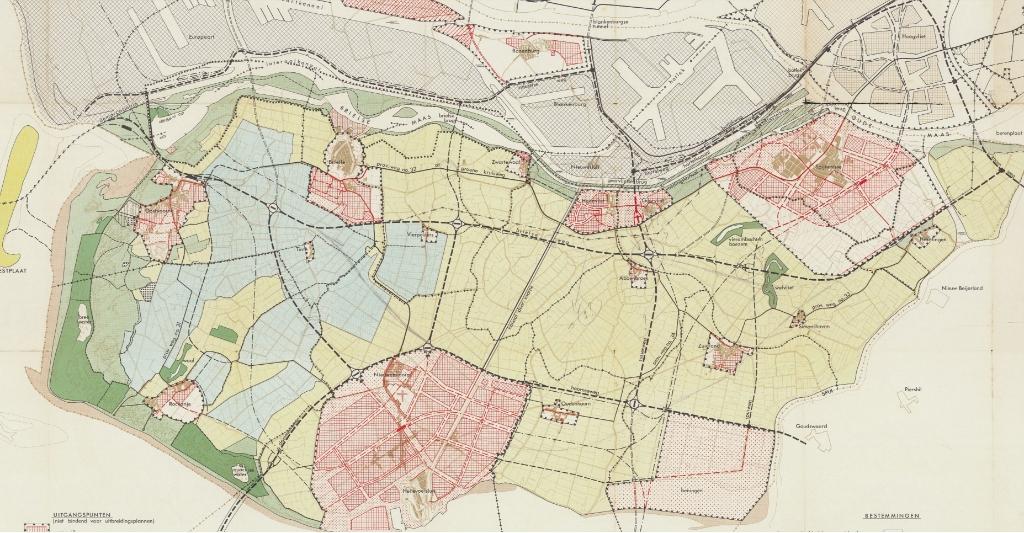 Een uitsnede van het streekplan uit 1963.  © GrootNissewaard.nl