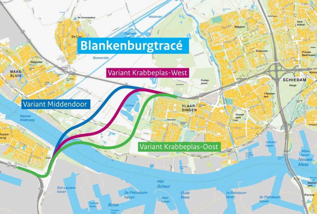 Het tracé van de Blankenburgtunnel. Afb. Rijkswaterstaat © BrielsNieuwsland.nl