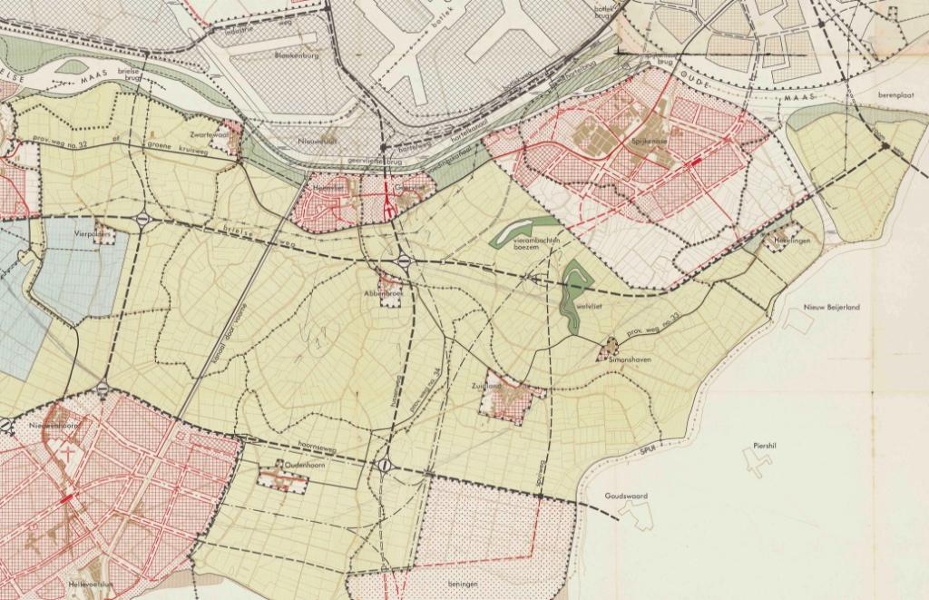 Streekplan 1963 - de plannen rondom Spijkenisse en de Hoeksche Waard.  © GrootNissewaard.nl