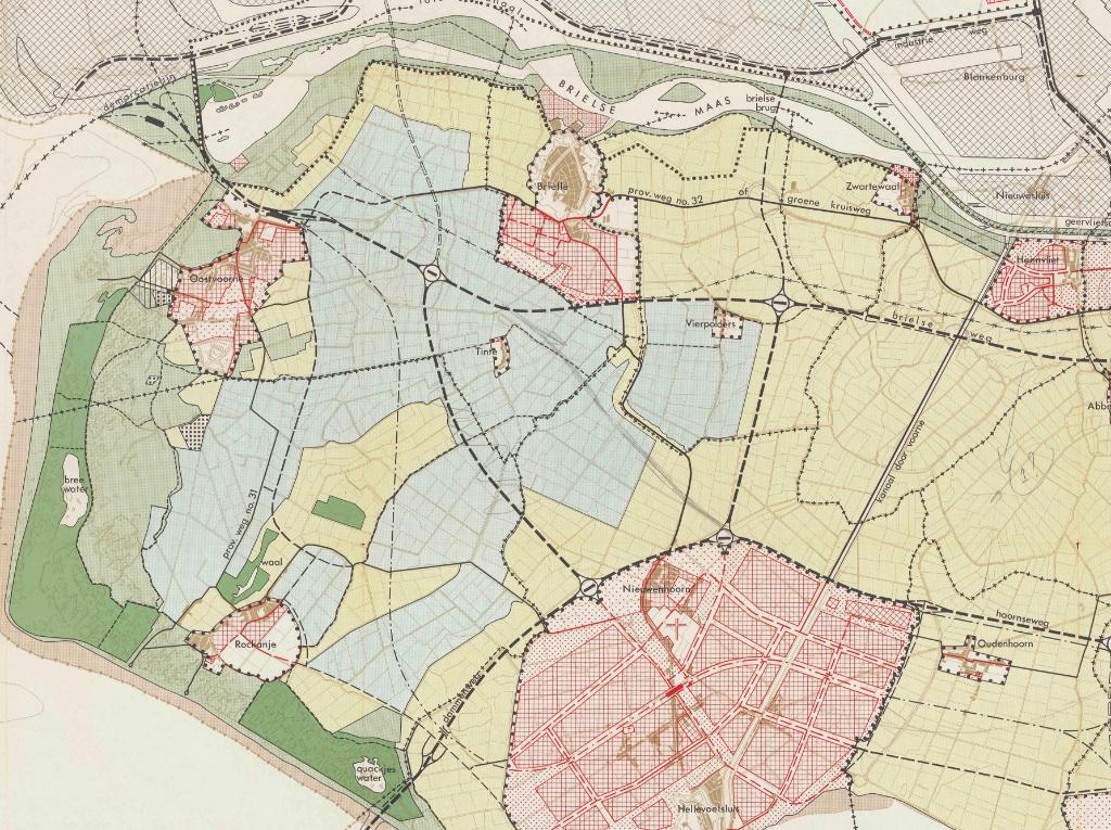 Streekplan 1963 - de plannen op Voorne.  © GrootNissewaard.nl