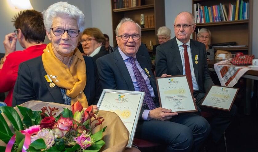 Vlnr: Naantje van den Broek (75) , Jan van Broekhoven (74)  en Joop van Oosterhout (75).