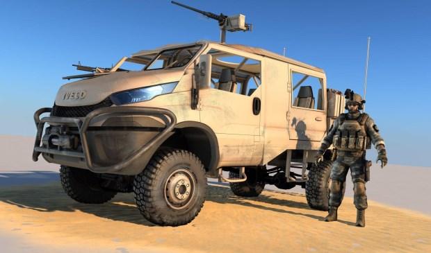 Een artist impressie van het voertuig dat Deba maakt voor defensie.  © BredaVandaag