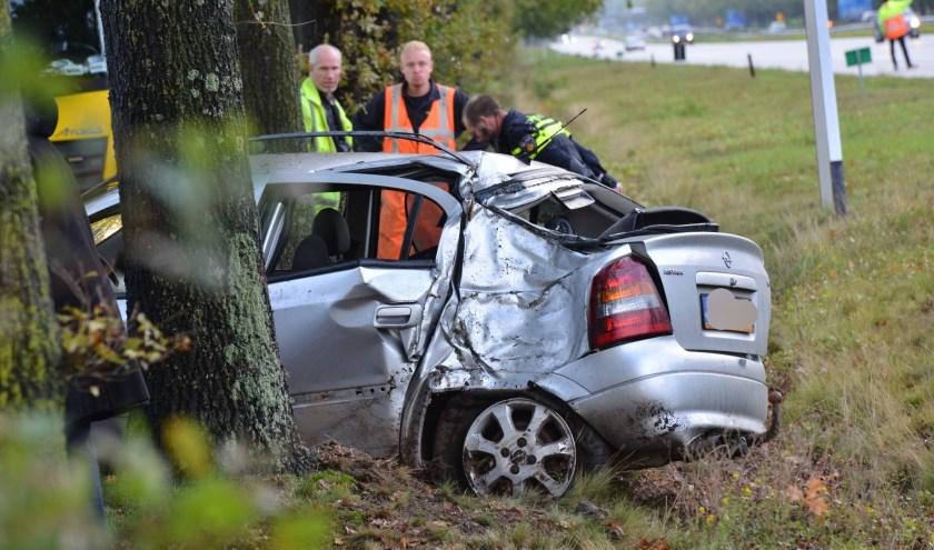 De auto raakte total loss bij het ongeval.