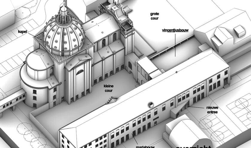 Art impressie van het gebied rondom de kapel van Saint Louis, met vooraan de te verbouwen Mariabouw tot cultuurcluster