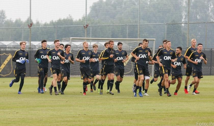 De spelers tijdens de eerste training afgelopen woensdag