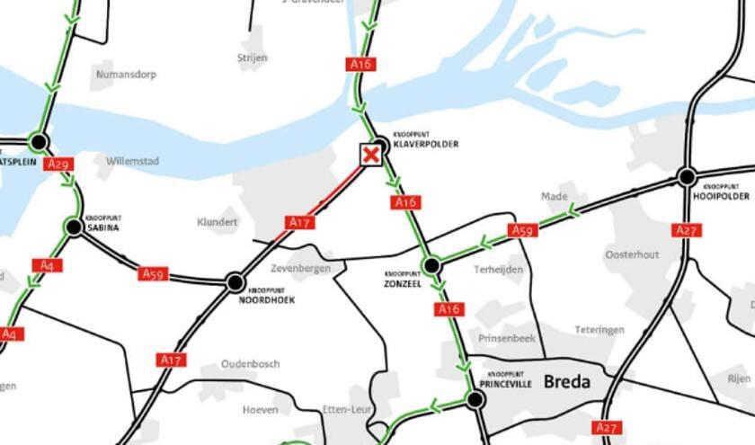 De weg is van knooppunt Klaverpolder tot afrit Zevenbergen afgesloten.