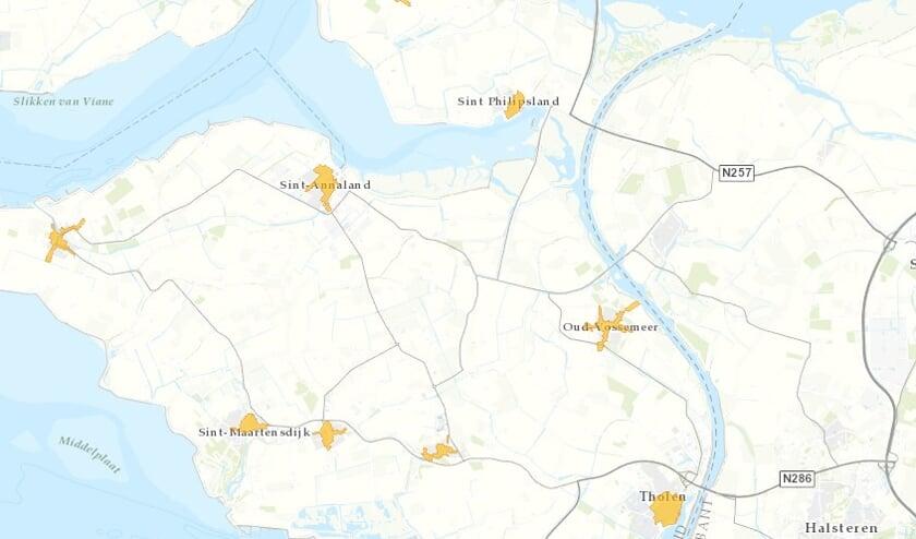 Het gaat om Tholen, Stavenisse, Sint-Annaland, Sint-Maartensdijk, Oud-Vossemeer, Sint Philipsland en Poortvliet.