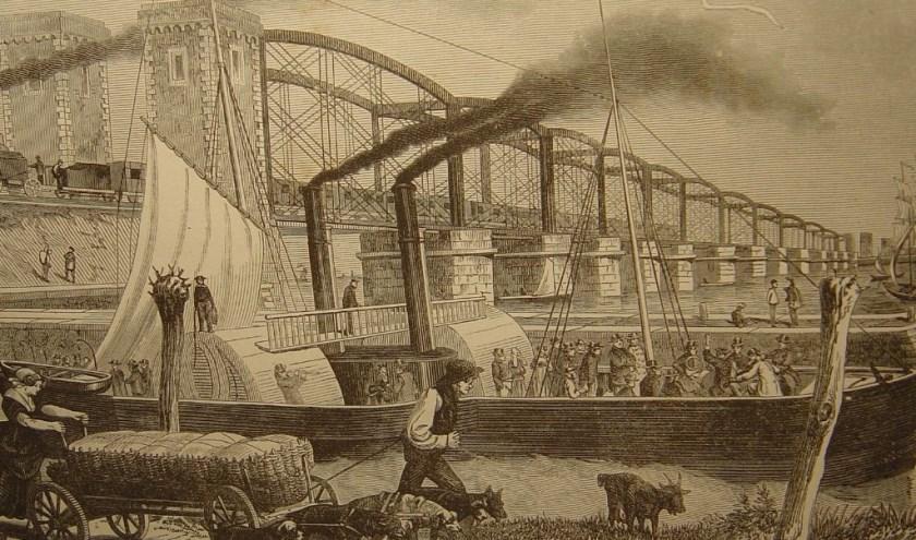 Gravure Moerdijkbrug; inzet pastoor Bouman. ARCHIEF RINIE MAAS