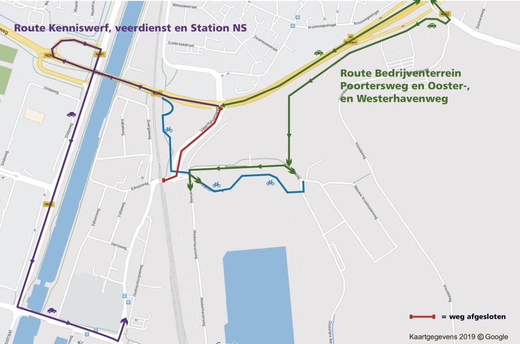 De omleidingen voor het verkeer tijdens de tiendaagse afsluiting van de Veerhavenweg. Foto: Renate Zegelink - Sluysmans © souburgsche courant