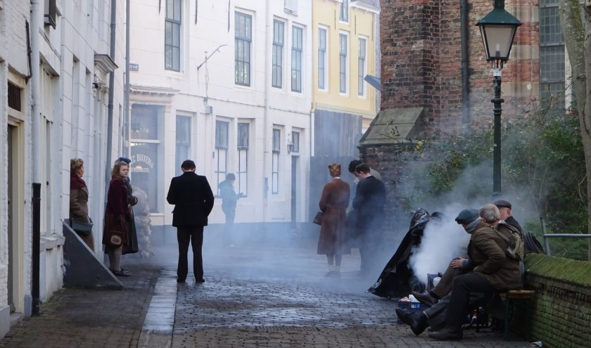 Vlissingen gaat tijdens de filmopnames terug naar de tijd van de Tweede Wereldoorlog. FOTO MARIELJA TEN BRUGGENCATE