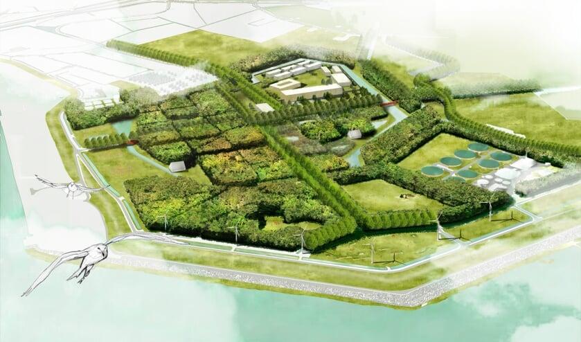 <p>Het ontwerp voor stadslandgoed Nieuwerve, met bovenin het justitieel complex.</p>