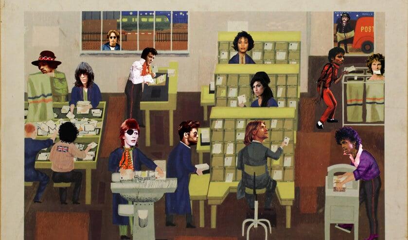 Van links naar rechts: Jimi Hendrix, Joey Ramone, Sid Vicious, John Lennon, David Bowie, Elvis Presley, George Michael, Whitney Houston, Amy Winehouse, Kurt Cobain, Michael Jackson, Lemmy Kilmister, Prince en Jim Morrison.
