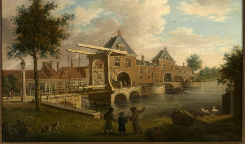 """""""De Haagpoort en de Wateringse poort"""", circa 1700, schilder Isaac van Haastert. Olieverf op doek."""