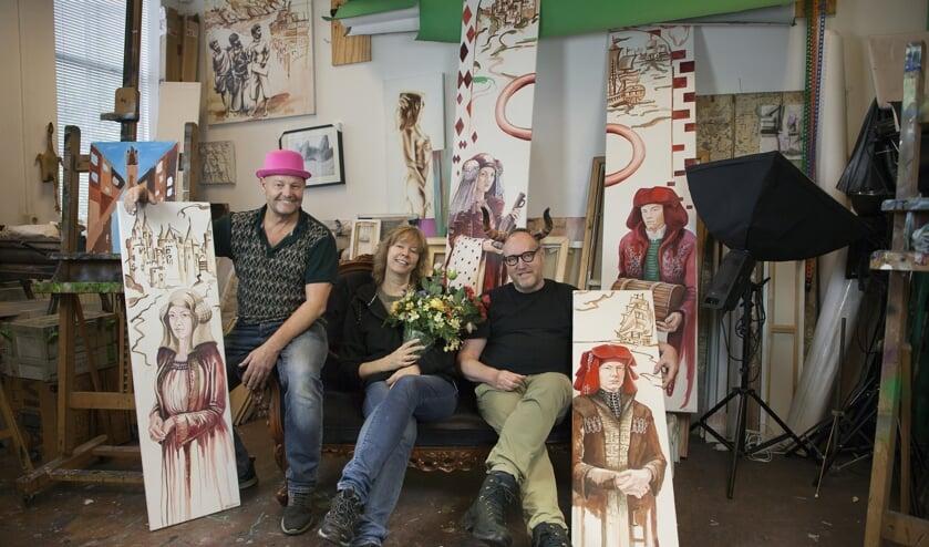 Drie van de deelnemende Bacinol-kunstenaars: Joost Konings, Jacqueline Louter en Rob van Es (Foto: Jacqueline Louter)