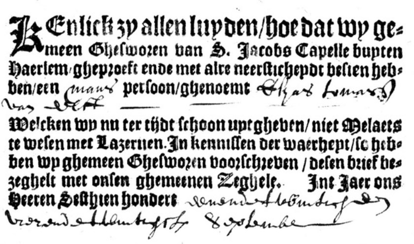 De verklaring uit 1621 dat Esyas niet melaats is