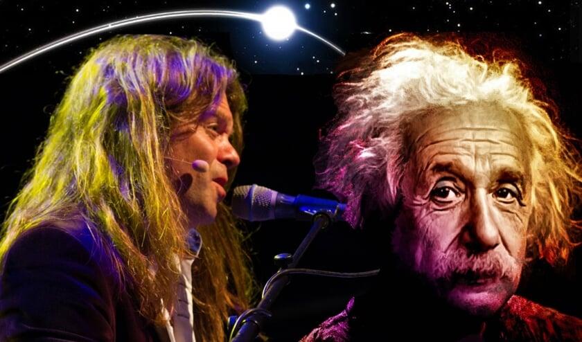 Frank Bleuka eert Einstein in het Rietveld Theater (Foto: M.P.I. van Oort & O.J. Turner)
