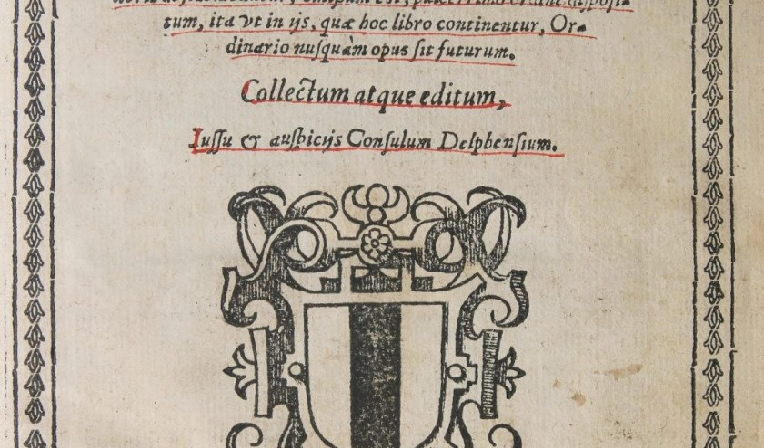Titelpagina van Delfts gezangboek 'Cantuale Novum' uit 1566 (copyright: Stadsarchief Delft).