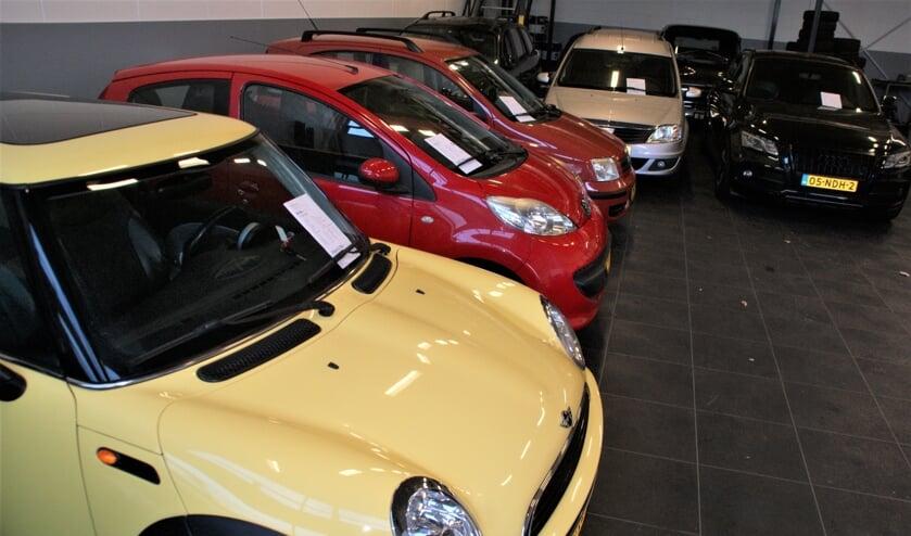 De occasions staan allemaal mooi opgesteld in een aparte showroom van Autobedrijf Harnaschpoort.