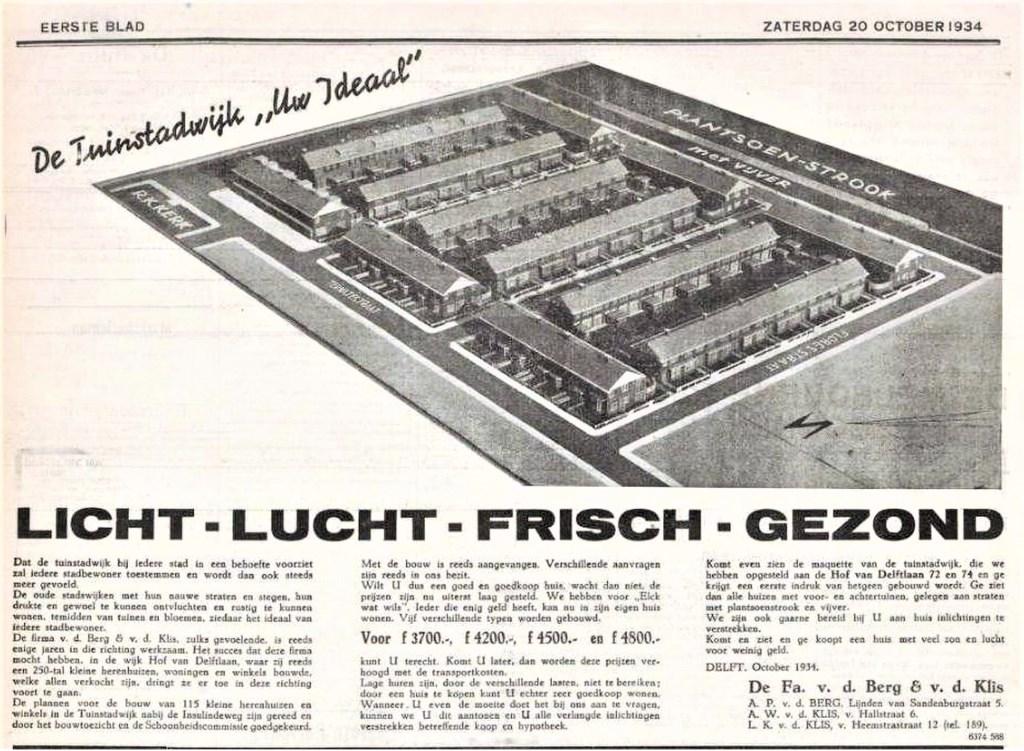 Krantenadvertentie 1934. (Foto bergklis.nl makelaardij)  © RODI Media-zh