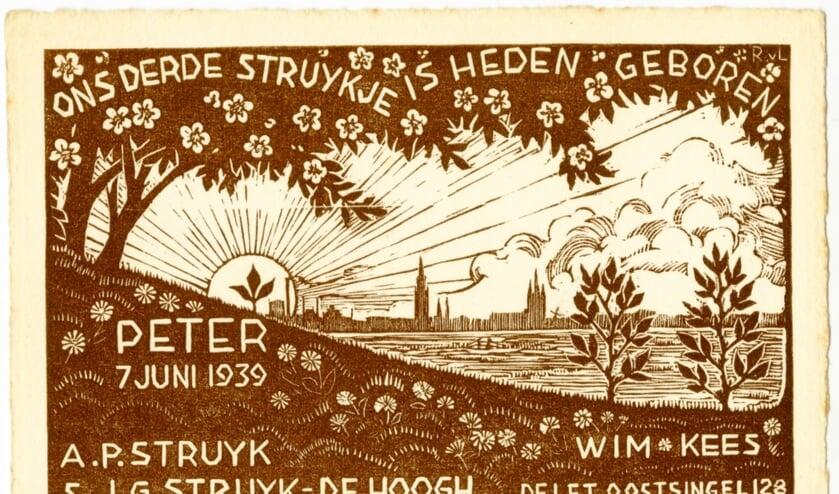 Rijk van Lavieren, Geboortekaartje van Peter Struyk, 1939 (TMS 139208)