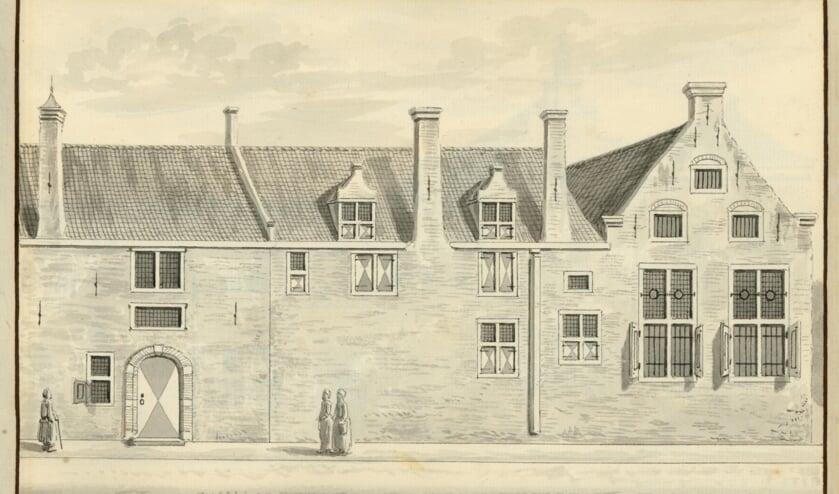 Het oude-vrouwenhuis aan de Schoolstraat door Abraham Rademaker, begin 18e eeuw. (TMS 5695)