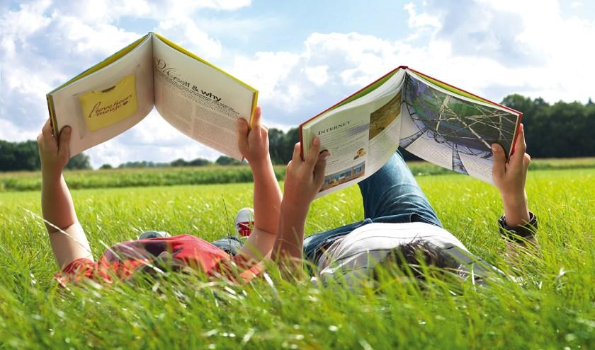 Lezen in de zomermaanden, maar niet zoals hier uit een traditioneel boek, maar uit een e-book van de VakantieBieb.