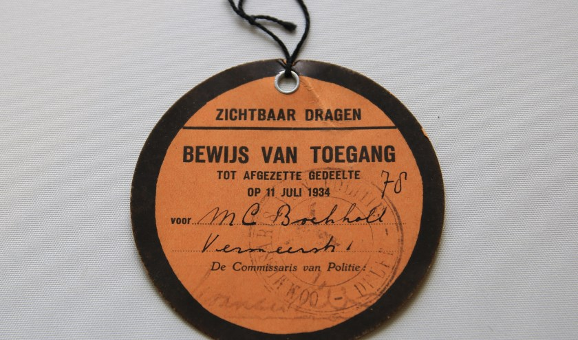 Bewijs van toegang koninklijke uitvaart prins Hendrik, 1934 (Archief 598, 1393; foto Bas van der Wulp)