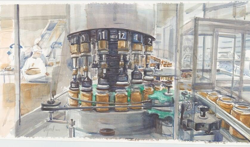 Anneloes Groot: aquarel van de lopende band in de Delftse Calvé-fabriek waarop potten pindakaas van een deksel worden voorzien, 2005. (TMS 133605)