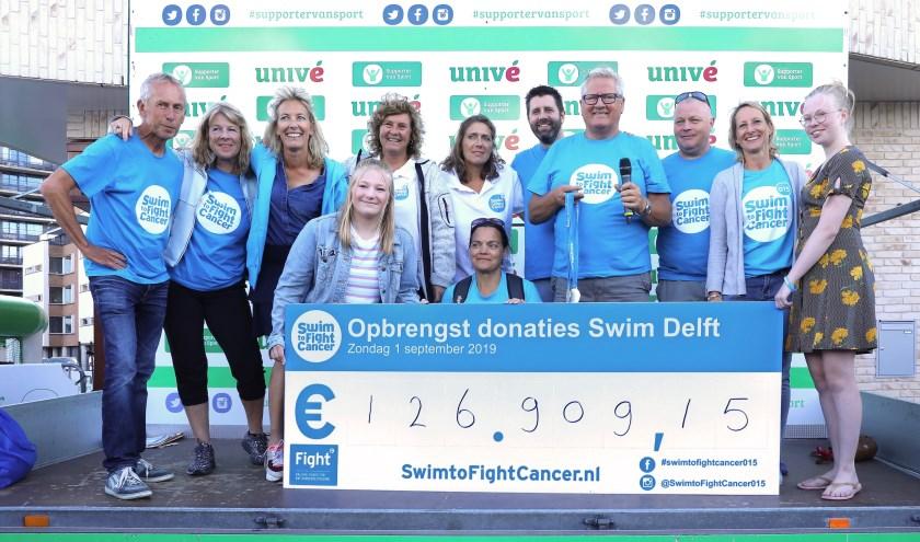 De organisatie van de 'Swim Delft' poseert trots met de cheque