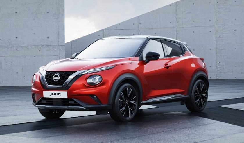 De vernieuwde Nissan Juke, met een heel herkenbare V-Motion grille.