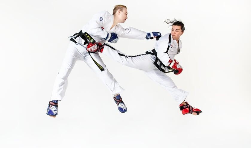 Taekwondoka Graziella Idili (rechts) en Europees Kampioen Chris van de Veerdonk (links) (foto: GI)