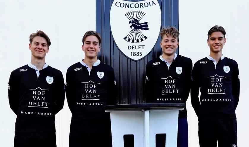 De aanstormende talenten van Concordia. Van links naar rechts: Tijs, Noam, Felix en Mika (Foto: Koos Bommelé)
